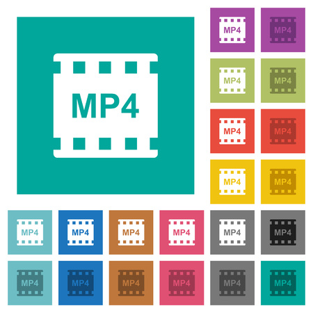 Mp4 movie format multi colored flat icons on plain square backgrounds. Included white and darker icon variations for hover or active effects.