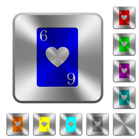 Six of hearts card engraved icons on rounded square glossy steel buttons. Foto de archivo - 96759545