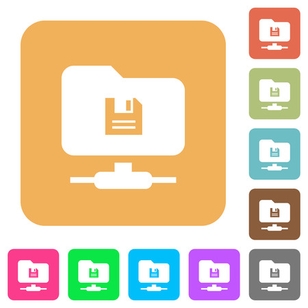 FTP save flat icons on rounded square vivid color backgrounds.