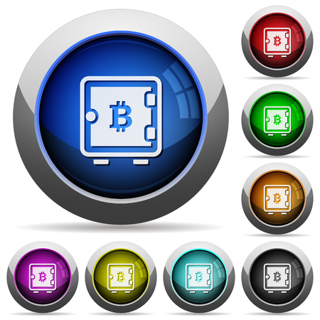 Bitcoin strong box icons in round glossy buttons with steel frames