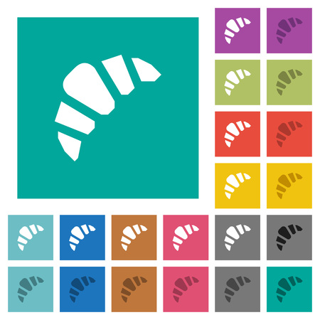 Bakery multi colored flat icons on plain square backgrounds. Included white and darker icon variations for hover or active effects. Illustration