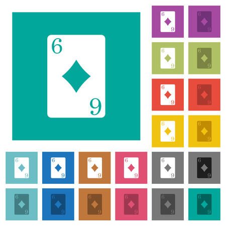Six of diamonds card multi colored flat icons on plain square backgrounds. Included white and darker icon variations for hover or active effects. Foto de archivo - 96805006