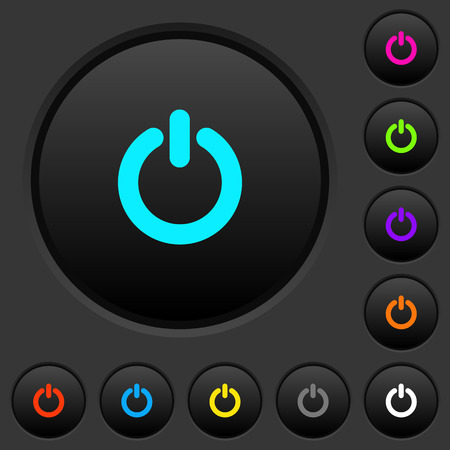 Power switch dark push buttons with vivid color icons on dark gray background