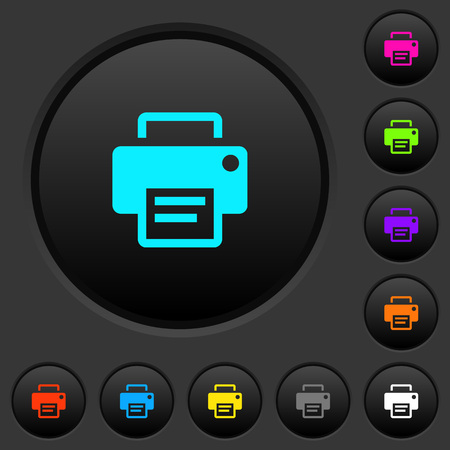 Printer dark push buttons with vivid color icons on dark gray background Vettoriali
