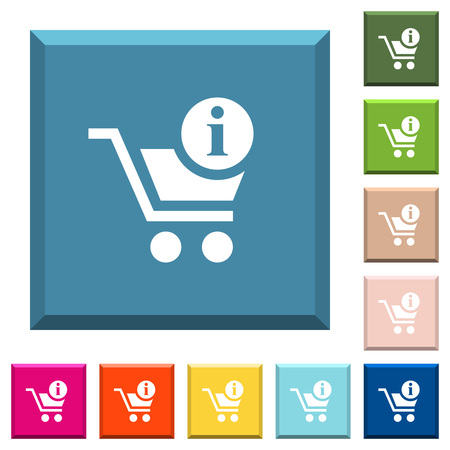 Cart item info white icons on edged square buttons in various trendy colors