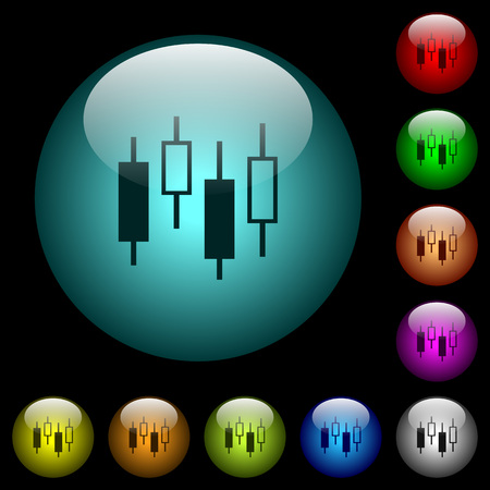 Candlestick chart icons in color illuminated spherical glass buttons on black background. Can be used to black or dark templates Stock Illustratie