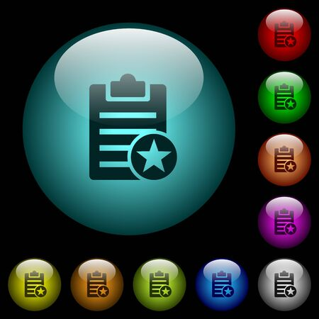 Marked note icons in color illuminated spherical glass buttons on black background. Can be used to black or dark templates