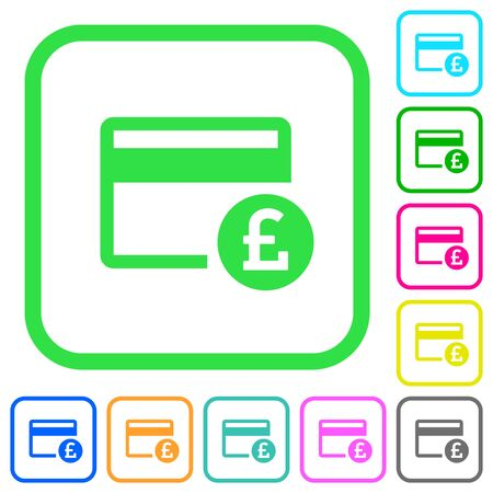 Pound credit card vivid colored flat icons in curved borders on white background