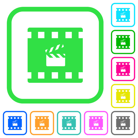 Movie production vivid colored flat icons in curved borders on white background Çizim