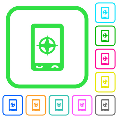 Mobile compass vivid colored flat icons in curved borders on white background
