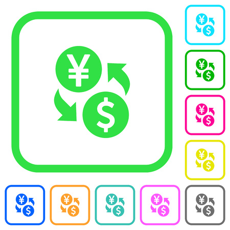 Yen Dollar money exchange vivid colored flat icons in curved borders on white background