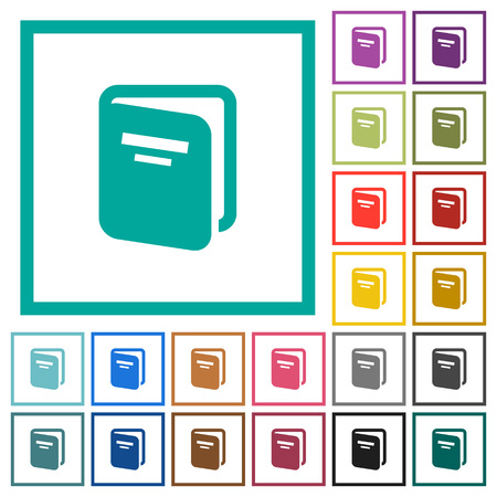 Album flat color icons with quadrant frames on white background