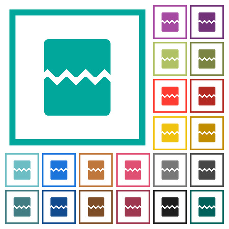 Page break flat color icons with quadrant frames on white background