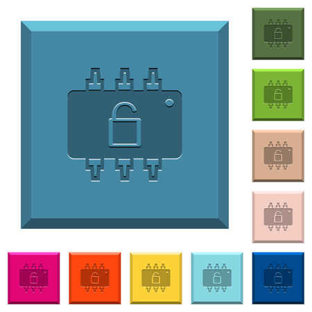 Hardware unlocked engraved icons on edged square buttons in various trendy colors Illustration