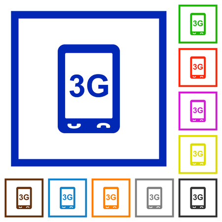 Third generation mobile connection speed flat color icons in square frames on white background