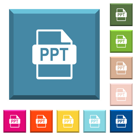 PPT file format white icons on edged square buttons in various trendy colors