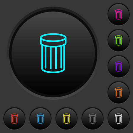 Recycle bin dark push buttons with vivid color icons on dark grey background