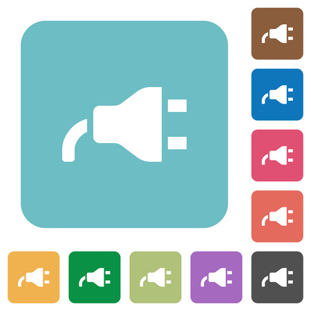 Power plug white flat icons on color rounded square backgrounds Иллюстрация
