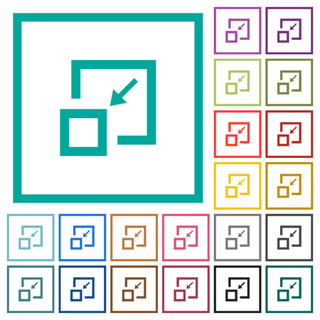 Shrink window flat color icons with quadrant frames on white background
