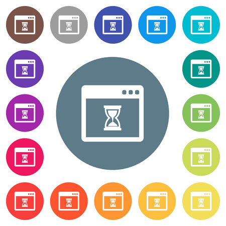 Waiting application flat white icons on round color backgrounds. 17 background color variations are included. Illustration