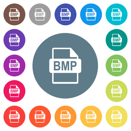 BMP file format flat white icons on round color backgrounds. 17 background color variations are included.