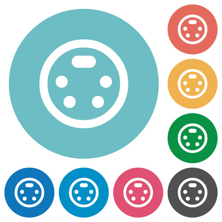 S-video connector flat white icons on round color backgrounds