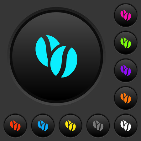 Coffe beans dark push buttons with vivid color icons on dark grey background