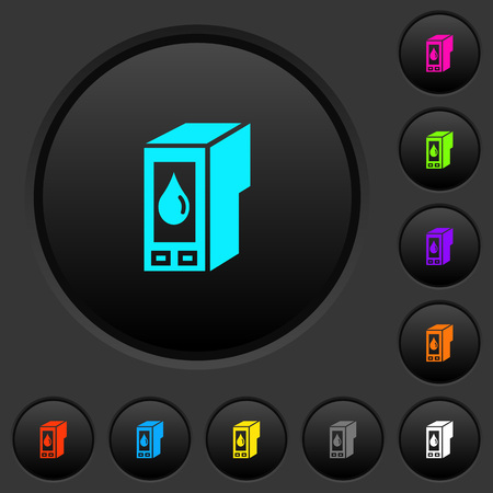 Ink cartridge dark push buttons with vivid color icons on dark grey background