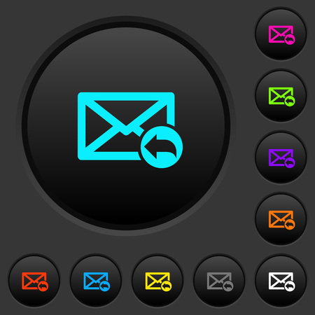 Reply mail dark push buttons with vivid color icons on dark grey background Illustration