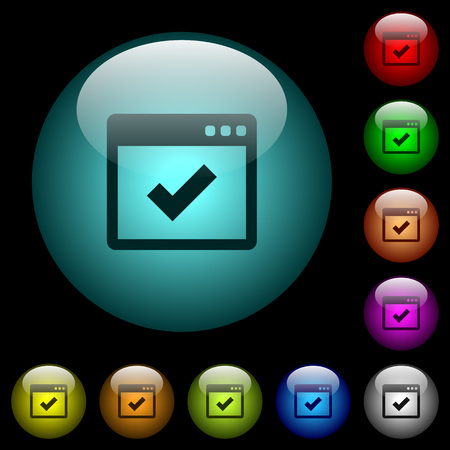 Application ok icons in color illuminated spherical glass buttons on black background. Can be used to black or dark templates