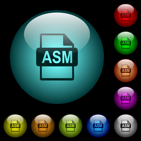 ASM file format icons in color illuminated spherical glass buttons on black background. Can be used to black or dark templates