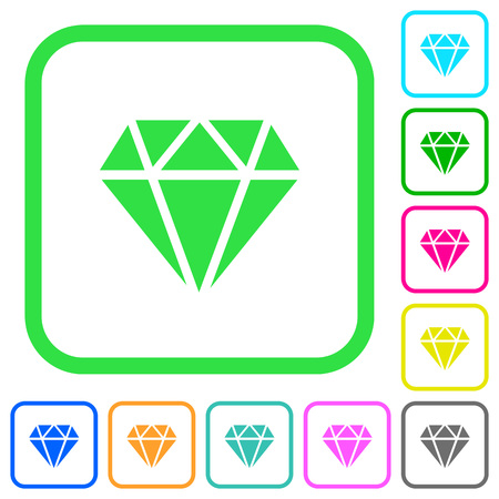 Diamond vivid colored flat icons in curved borders on white background