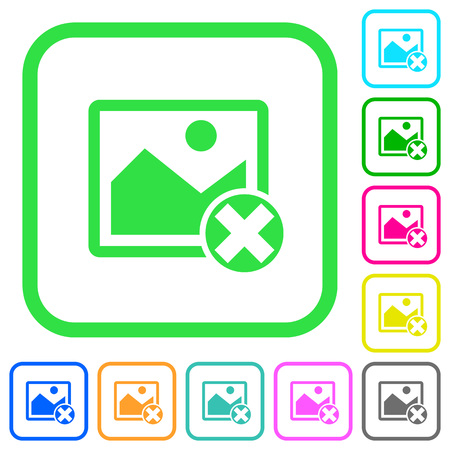 Cancel image operations vivid colored flat icons in curved borders on white background