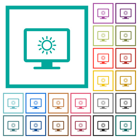 Adjust screen brightness flat color icons with quadrant frames on white background