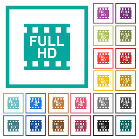 Full HD movie format flat color icons with quadrant frames on white background