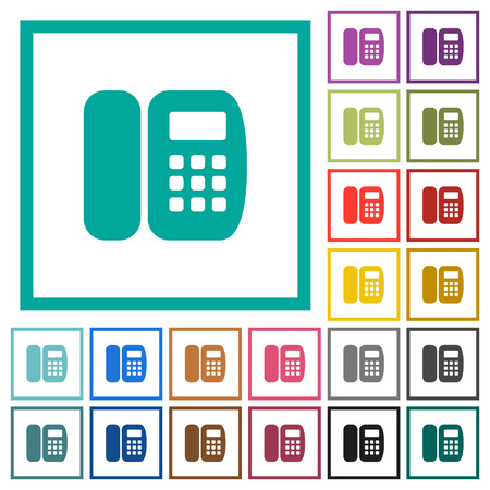 Office phone flat color icons with quadrant frames on white background Illustration