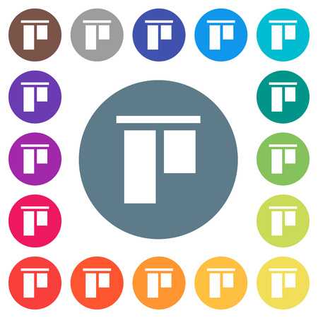 Align to top flat white icons on round color backgrounds. 17 background color variations are included.