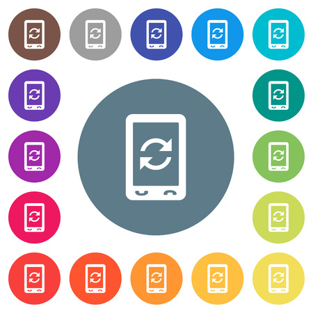 Mobile syncronize flat white icons on round color backgrounds. 17 background color variations are included. Illustration