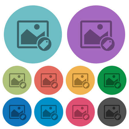 Image tagging darker flat icons on color round background Illustration