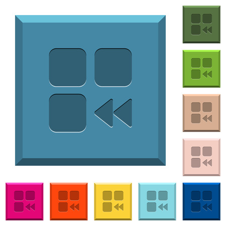 Component fast backward engraved icons on edged square buttons in various trendy colors Stock Vector - 96982490