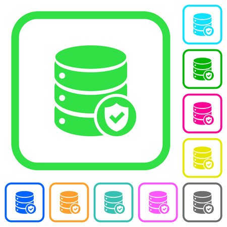 Database protected vivid colored flat icons in curved borders on white background Illustration