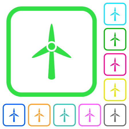 Wind turbine vivid colored flat icons in curved borders on white background