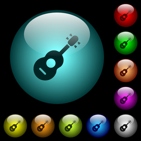 Acoustic guitar icons in color illuminated spherical glass buttons on black background. Can be used to black or dark templates