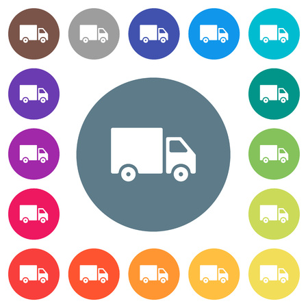 Delivery truck flat white icons on round color backgrounds. 17 background color variations are included.