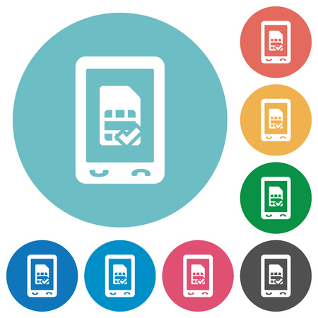 Mobile simcard accepted flat white icons on round color backgrounds Illustration