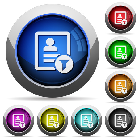 Contact filter icons in round glossy buttons with steel frames