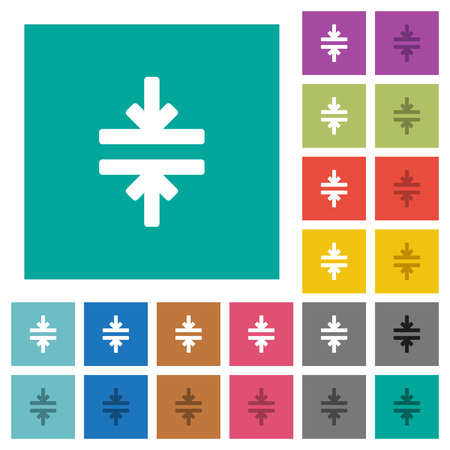 Horizontal merge tool multi colored flat icons on plain square backgrounds. Included white and darker icon variations for hover or active effects.