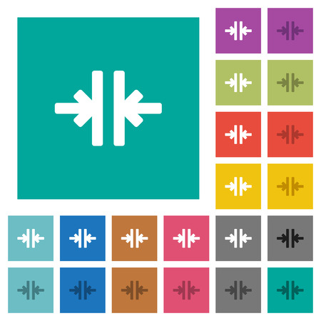 Vertical merge tool multi colored flat icons on plain square backgrounds. Included white and darker icon variations for hover or active effects.