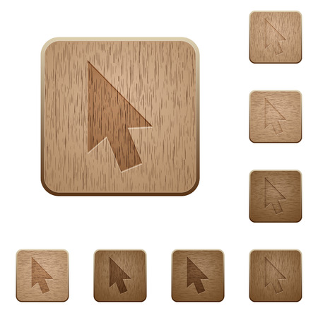 Mouse cursor on rounded square carved wooden button styles Stock Illustratie