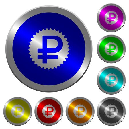 Ruble sticker icons on round luminous coin-like color steel buttons